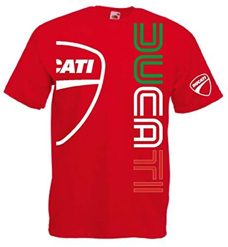 Generico t-Shirt Ducati Logo m1 Biker(L, Rot)