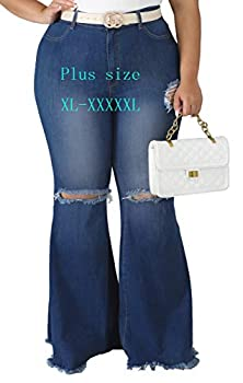 HannahZone Womens Ripped Bell Bottom Plus Size Jeans Elastic Waist Flared Jean Pants