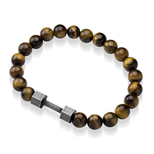 555Jewelry Stainless Steel Stretch Barbell Gym Anxiety Beaded Bracelet for Men & Women Hexagon Barbell - Brown Tiger Eye Beads