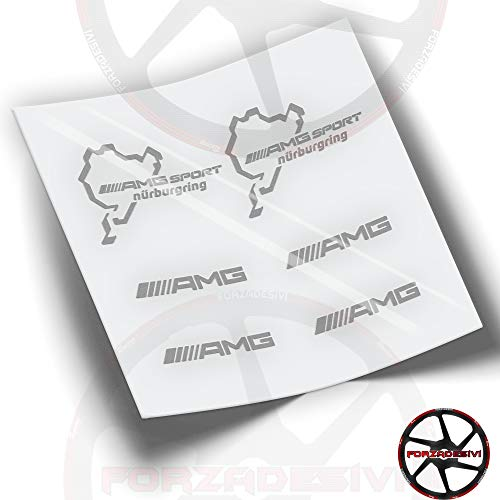 FA40 Pegatinas AMG Mercedes Sport NÜRBURGRING Stickers ADESIVO AUTOCOLLANTS AUFKLEBER (Plata)