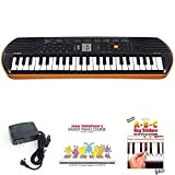 Casio SA76 44 Keys 100 Tones Keyboard bundle with Casio Power Supply, John Thompson's Easiest Piano Course and ABC Keyboard Stickers