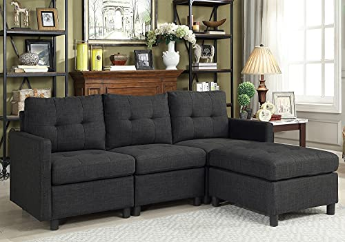 """Sectional Sofa Set L-Shaped Couch Reversible Modular 75"""" Love Seats Futon Couch Furniture with Reversible Ottoman for Small Space Living Room (Dark Gray 3 Seat)"""