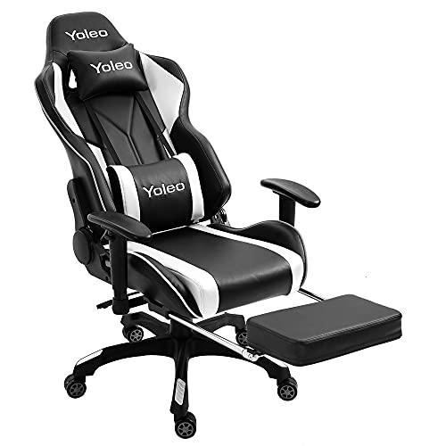 YOLEO Gaming Stuhl, Bürostuhl mit Fußstütze, Ergonomischer Stuhl mit Kopfstütze und Lendenkissen, Racing Stuhl Hohe Rückenlehne, drehbar, höhenverstellbar, bis 200 kg belastbar, PU-Leder, Schwarz-Weiß