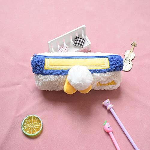 MRBJC Estuche para lápices, estuche de peluche, bolsa de artículos de papelería para estudiantes con cremallera para suministros escolares, herramientas, gadgets azul 20 x 10 cm