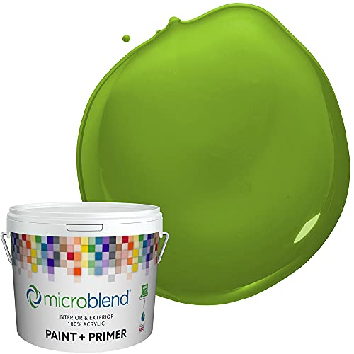 Microblend Interior Paint and Primer - Bright Green/Joyful Green, Satin Sheen, 1 Gallon, Premium Quality, One Coat Hide, Low VOC, Washable, Microblend Greens Family