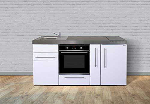 Stengel Steel Concept Miniküche Premiumline MPB 180 A – Weiß – Kühlschrank – Backofen - Apothekerauszug