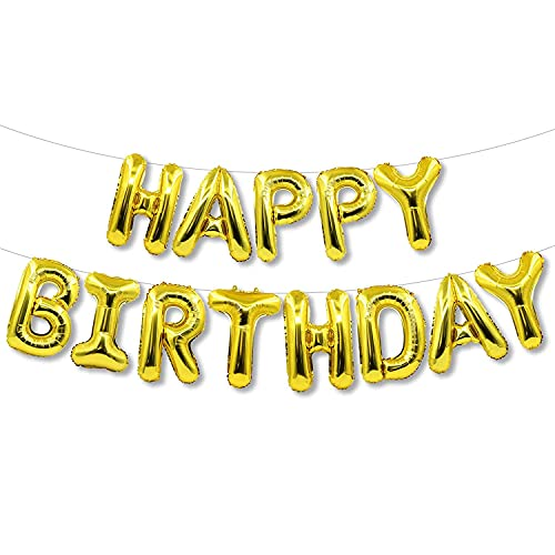 Happy Birthday Balloon Banner Letter Party Decorations, 16 Inch 3D Aluminum Foil Inflatable Hanging Letter kit set, Party Decor and Event Decorations Favor and Supplies for 1St Birthday Kids Boys Girls Adults Men Women (Gold)