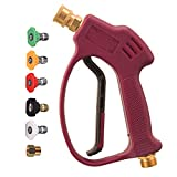 M MINGLE Short Pressure Washer Gun for Hot and Cold Water, High Replacement, 5 Spray Nozzle Tips, M22 Thread, 3600 PSI