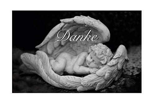 30 Exclusive Premium-Danksagungskarten Trauerkarten Klappkarten mit 30 Umschlägen im Set - Motiv: Engel - Danke nach Trauer, Beerdigung, Sterbefall, Friedhof, Begräbnis, Verabschiedung