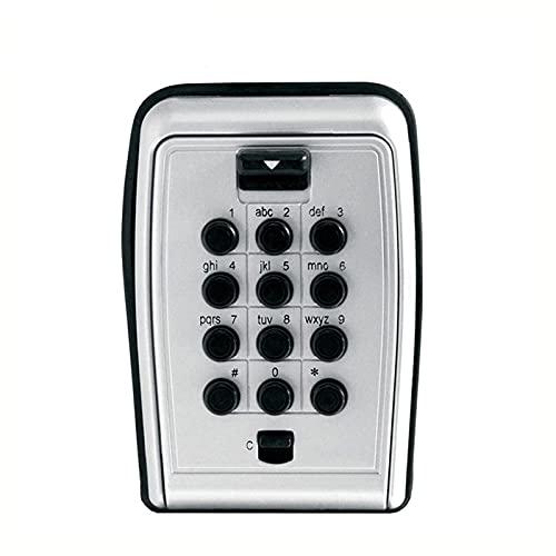 Caja de Cerradura con Llave Caja de almacenamiento de bloqueo de contraseña de metal de llave de bloqueo adecuado para la compañía doméstica para Exterior ( Color : Gris , Size : 11.8x8x5.2cm )