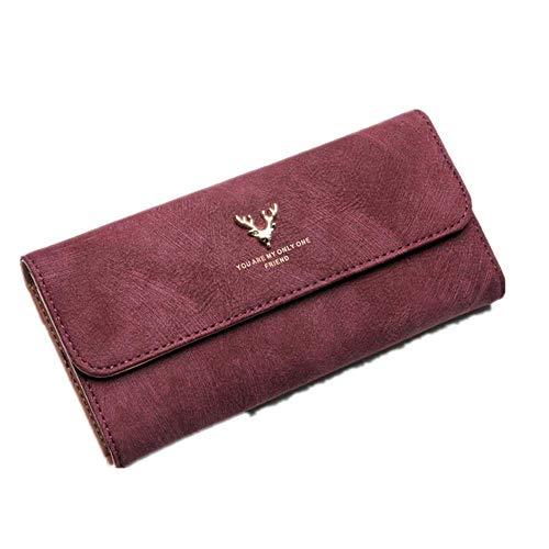 Damen Portemonnaie lang Scrub Bag Geweih weiblich Leder Geldbörse Damen Clutch Handy weiblich Geldbörse Kartenhalter, rot (Rot) - 6925423028940