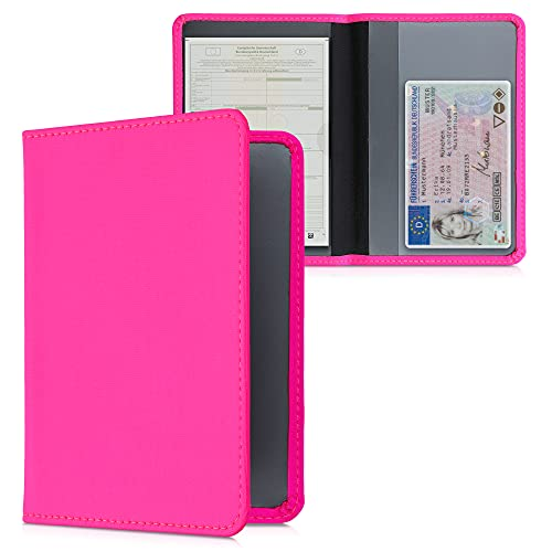 kwmobile Fahrzeugschein Hülle mit Kartenfächern - Neopren Etui Tasche für Auto Zulassungsbescheinigung Führerschein Neon Pink