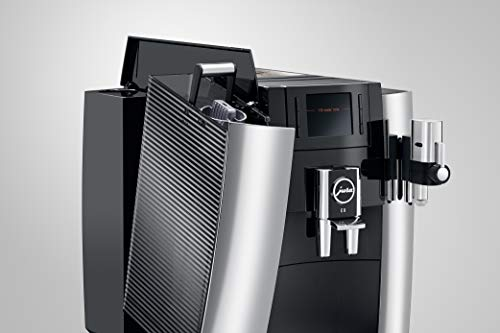 JURA E8 Chrome Automatic Coffee Machine 5 The new Jura E line is revolutionizing the enjoyment of coffee in every aspect. The espresso brewing process has been perfected. The Pulse Extraction Process is the only process of its kind in the world. It optimizes the extraction time and guarantees the very best aroma even for short specialty coffees. CLEARYL Smart provides water of perfect quality for the best possible flavor. Filter usage has never been easier because the Intelligent Water System automatically detects filter presence.