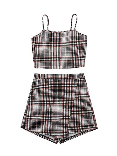 Floerns Women's 2 Piece Outfits Cami Tops and Plaid Skirt Set Brown Multi XS