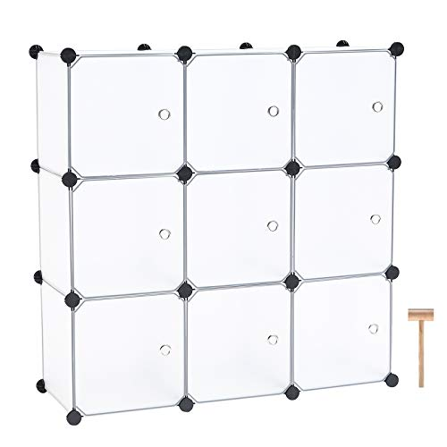 """C&AHOME Cube Storage Organizer, 9-Cube Plastic Closet Cabinet, Modular Bookshelf Units, Storage Shelves with Doors Ideal for Bedroom Living Room Office 36.6""""L x 12.4""""W x 36.6""""H Translucent White"""