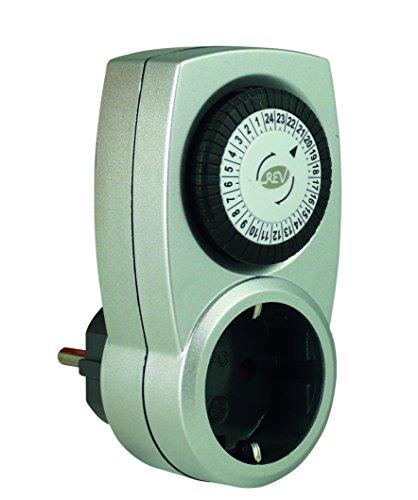 REV OUTDOOR ZEITSCHALTUHR Tempo | mechanische Tageszeit-Schaltuhr | für den Außenbereich IP 44 | mit Kinderschutz | Farbe: grau-grün