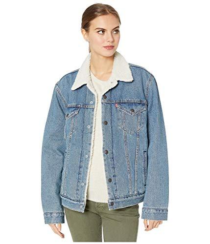 Womens Sherpa Glass Beach Blue Trucker Denim Jacket