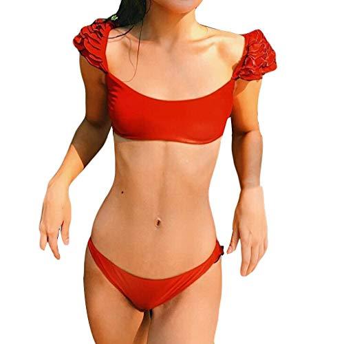 Momoxi Badeanzug Damen Sommer Sexy Frauen Bikini Set Gepolsterte Bademode Solide Rüschen Badeanzug Beachwear Bikini