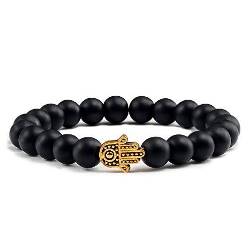 ZGRJIUERYI Steenarmband, bedels voor mannen, lavaparels, natuurlijke vulkaans, mat zwart, goud, steen, armbanden voor dames, yoga, gebed