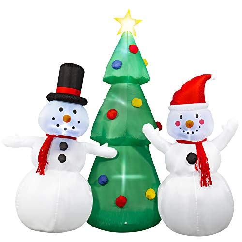 SEASONJOY 8Ft Christmas Inflatable Tree with Snowman, Outdoor Inflatable Christmas Decorations with Built-in Color Changing Lights, Christmas Blow up Decor for Yard Lawn Garden