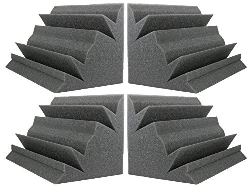 NEW LEVEL Charcoal Acoustic Foam Bass Trap Studio Corner Wall 12' X 7' X 7' (4 PACK)