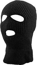 KBH-16 BLK Three Hole Mask Winter Knit Ski Hat Ribbed Beanie Balaclava