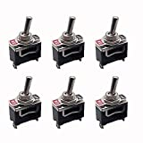 Shuny 6pcs Universal Rocker Toggle Switch AC250V 10A, Interruptor de palanca basculante Shaking head, 2 Pin SPST ON/Off Switch Metal Bat