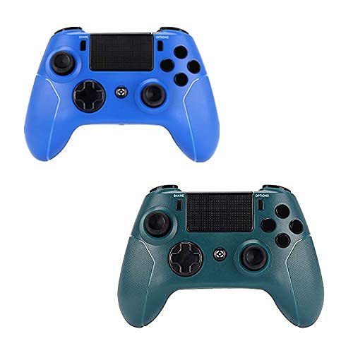 AUGEX 2 Pack Wireless Controllers Intended for PS4 Console - AUGEX Remote Control Compatible with Playstation 4 Host with Two Motors( Blue and Green,2021 New Model)