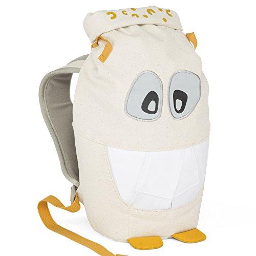 Affenzahn Kinder-Rucksack Monster Freunde aus Bio-Baumwolle für 1-3 Jährige Kinder im Kindergarten Yellow Mighty Monster gelb