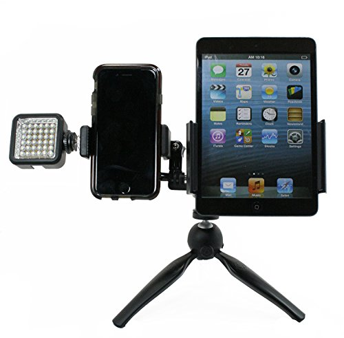 Livestream Gear - Dual Device Tripod with LED Light for Streaming or Video, to Fit Regular & Large Phones, Tablets. Swap Mounts for Phone or Tablet. Multiple Orientations. (Tablet & Phone LED Tripod)
