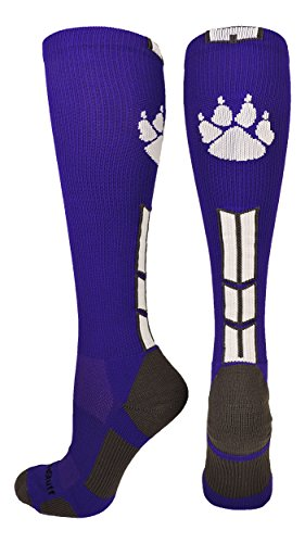 MadSportsStuff Wild Paw Over The Calf Socks (Purple/White/Graphite, Medium)