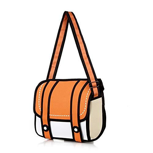 Xugq66 Genius_Baby 3D Style 2D Drawing Cartoon Bag Comic 3D Messenger Bag (Orange)