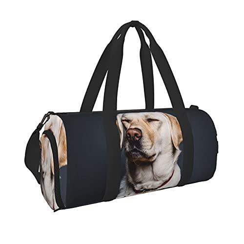 Carino Labrador Dog Sport Gym Bag con tasca bagnata & Scarpe, Borsone da viaggio per uomini e donne, Nero , Taglia unica,