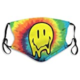 Tie Dye Acid Trippy Smiley Face Old Skool Rave Face Scarf Towel Mouth-Muffle Anti Dust Mouth Cover Black