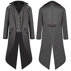 VERNASSA Mens Steampunk Vintage Tailcoat Jacket Gothic Victorian Smoking Jacket Medieval Halloween Costume Coat Black #1