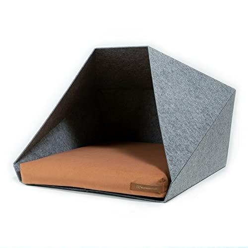 R Exproduct Pocket - Caseta para perros de tela ecológica de PET, resistente a los arañazos, gris claro y naranja (60 x 45 x 63 cm)