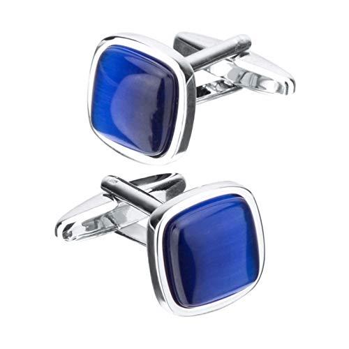TFGUOqun Moda Lujo Azul ópalo Piedra Gemelos de Gemelos Cuadrados Regalos de joyería para los Accesorios para Las Mujeres de los Hombres para Mujeres y Hombres