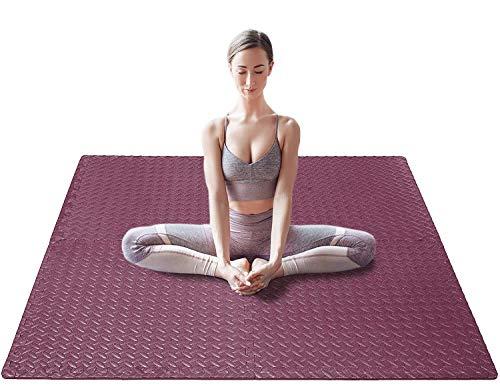 Aduro Sport Workout Floor Mat, Interlocking Foam Floor Mats, Exercise Rubber Foam Play Mat for Home Gym (Red)