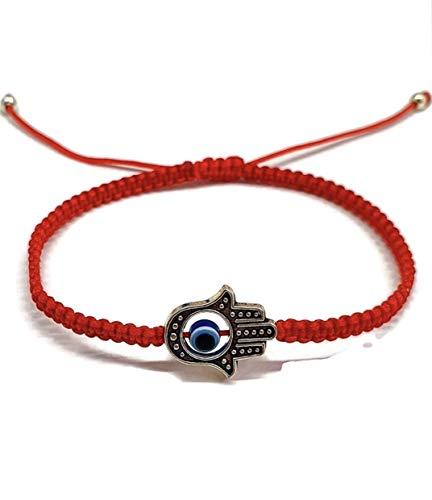 Pulsera/Hilo Rojo Kabbalah – Protección contra Mal de Ojo con Ojo Turco Azul y Mano de Fátima para Buena Suerte