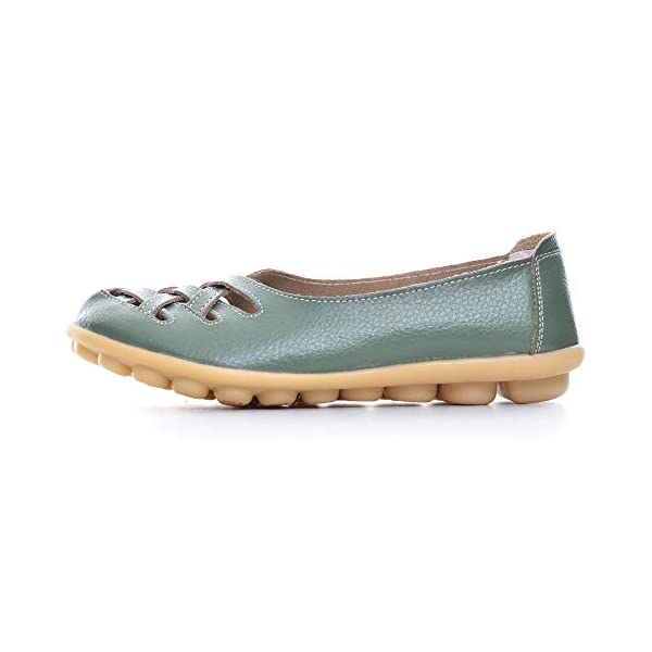 Dear Time Women Slip On Hollow Out PU Walking Flats,Natural Comfort Leather Casual Cut Out Loafers Flat Shoes