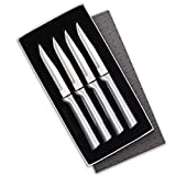 Rada Cutlery Serrated Steak Knife Set Stainless Steel Knives with Brushed Aluminum, Set of 4, 7 3/4, Silver Handle