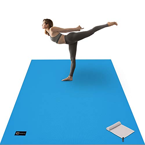 CAMBIVO Large Yoga Mat, Wide Exercise Mat 6'x 4' x 8 mm (72'x 48') Extra Thick Workout Mat for Pilates Stretching Home Workout Gym,Use without Shoes(Ocean Blue with Gray)