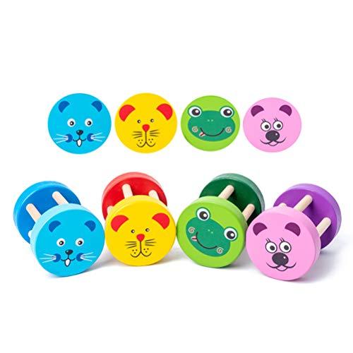 OUCRIY Sonajero de madera con sonajeros para bebés, juguete de madera, juguete de juguete, cilindro de juguete, tambor y percusión, juguete para niños y bebés