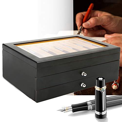 uyoyous Stifte Sammelbox mit Anzeigefenster, Doppelschicht Füllfederhalter Organizer Box, Penbox Stifthalterbox für 34 Stifte Schreibgeräte - (Rot, Holz) (34 Stifte Schreibgeräte)