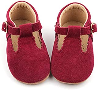 SIMABABY Elspeth – Australian Designed, Baby Toddler Child Girls First Walker Classic T-Bar Mary Jane Shoes, Burgundy, 100% Natural Genuine Leather.