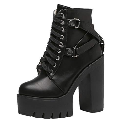 serliyDamen Ankle Stiefel Fashion Lady Schnürschuh aus weichem Leder Platform Shoe Party Ankle Boot...