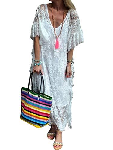 Minetom Damen Kurzarm V-Ausschnitt Retro Sommer Spitzen Strandkleid Maxi Kleider Boho Lang Lose Sommerkleid A Weiß 44