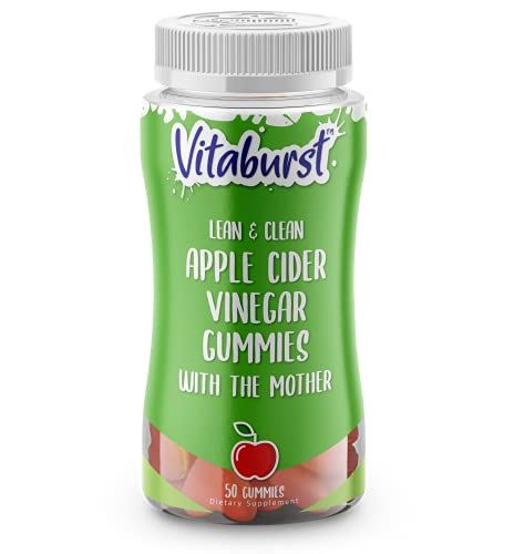Vitaburst Apple Cider Vinegar Gummies - Natural and Organic Immune, Cleanse, Detox & Weight Loss Support - Delicious ACV with The Mother - Unfiltered Raw Apple Cider Vinegar - Vegan, Non-GMO - 50ct