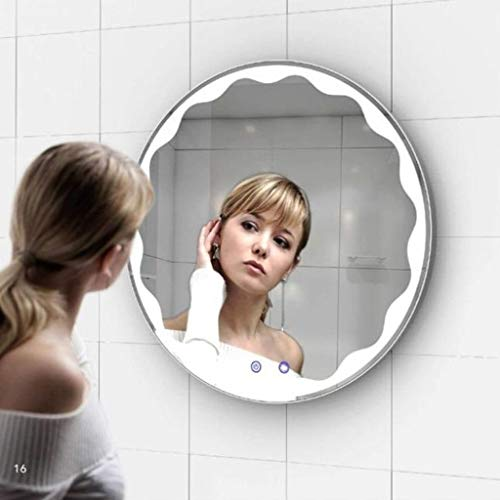 GTD-RISE Bathroom Wall Mirror,Bathroom Mirrors,Round Led Mirror Touch Anti-Fog Mirror Wall-Mounted Mirror with Light for Bedroom Hallway (Size : 60cm)
