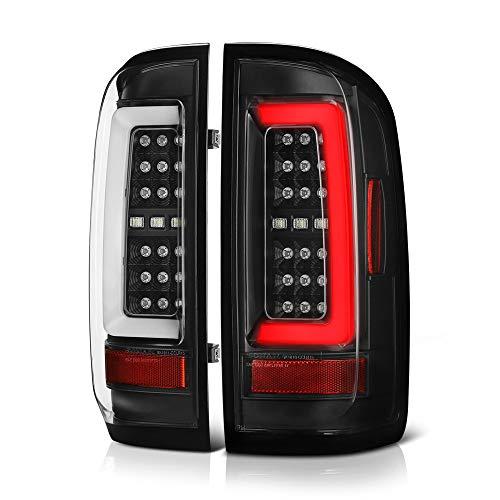 [For 2015-2019 Chevy Colorado & GMC Canyon Pickup Truck] Black Housing Premium OLED Neon Tube Full-LED Tail Light Lamp Assembly, Driver & Passenger Side